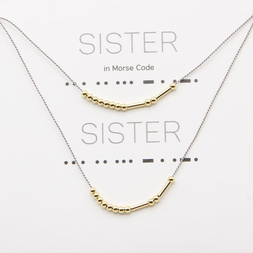 Sister Morse Code Necklaces in Gold, Set of Two