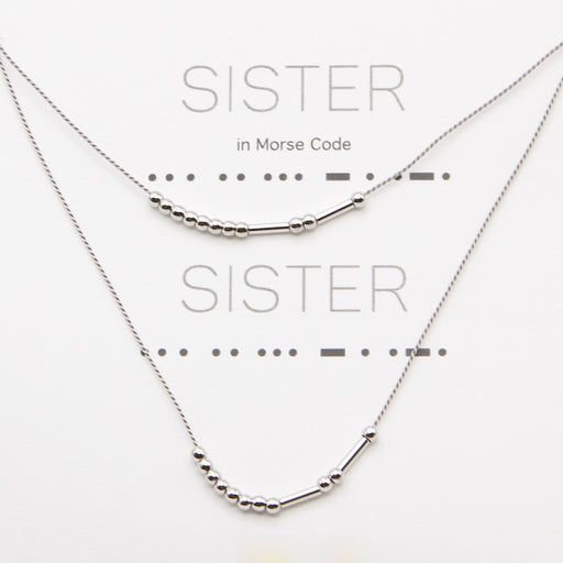 Sister Morse Code Necklaces in Silver, Set of Two