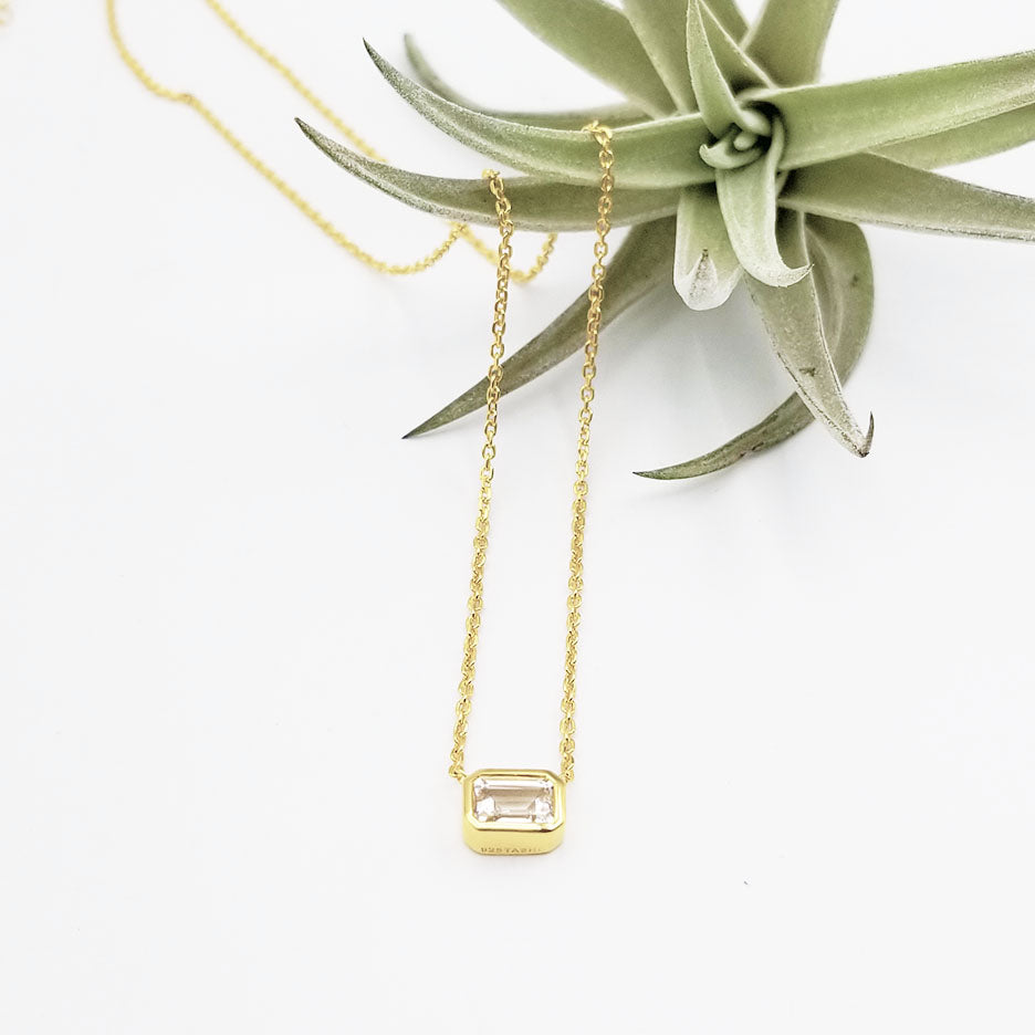Vermeil White Topaz Solitaire Necklace