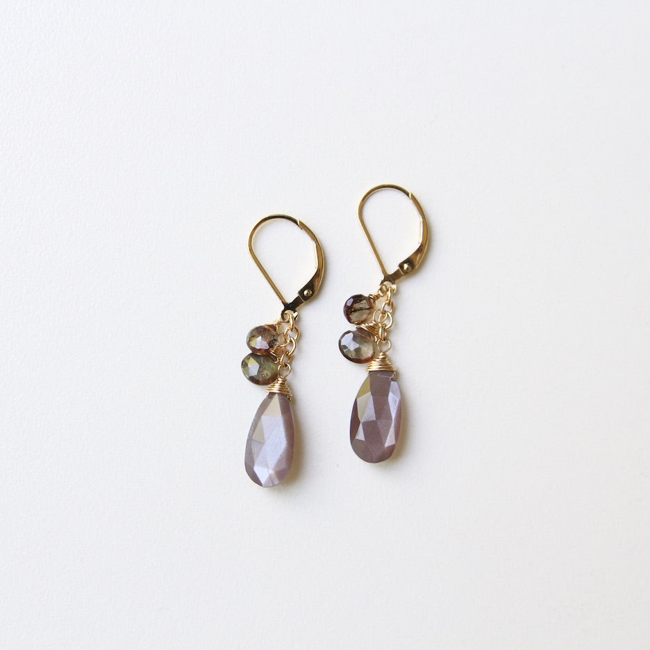 Chocolate Moonstone & Andalucite Brio Earring