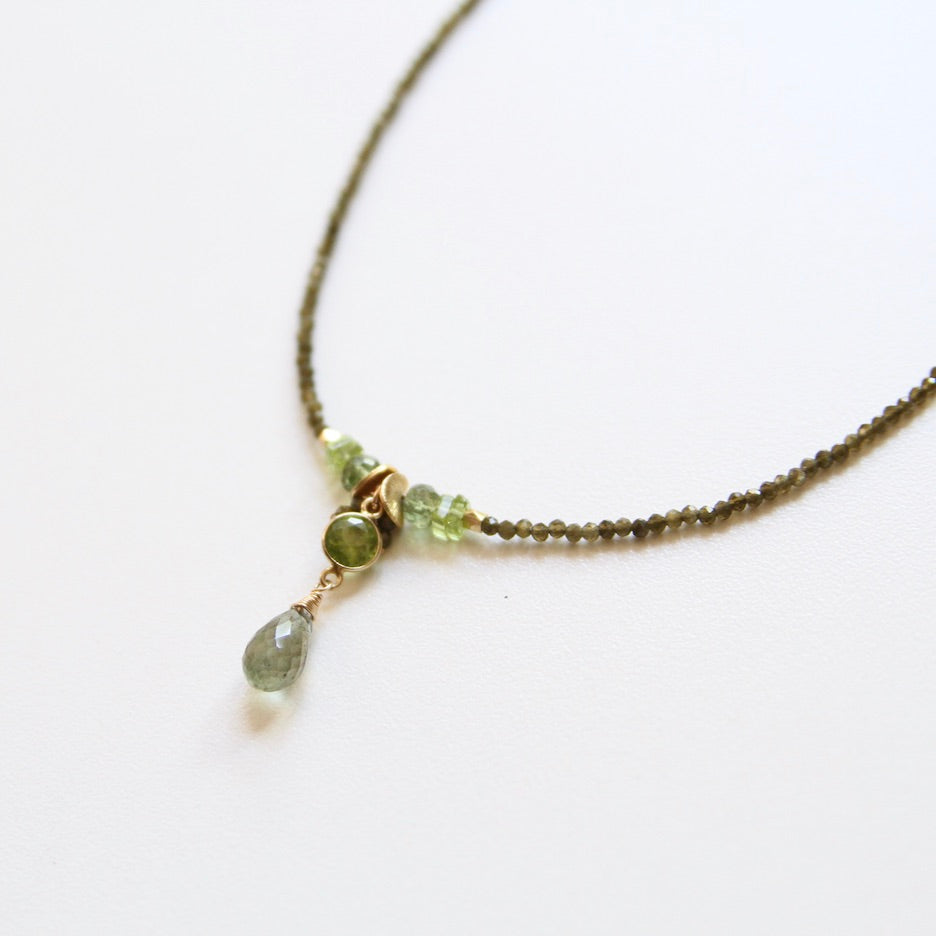 Strung Olive Cat's Eye With Green Cluster Drop Necklace