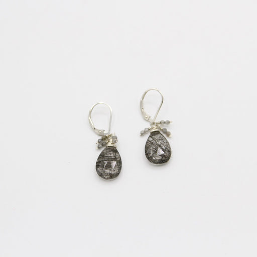 Black Tourmalated Quartz Cluster Earring