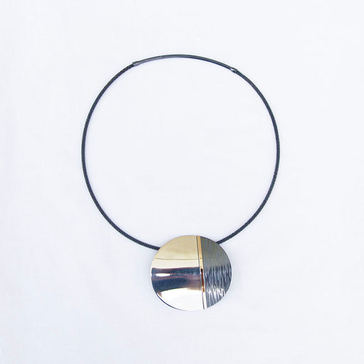 Large Sterling Silver Disc With 14K Gold Bar Necklace