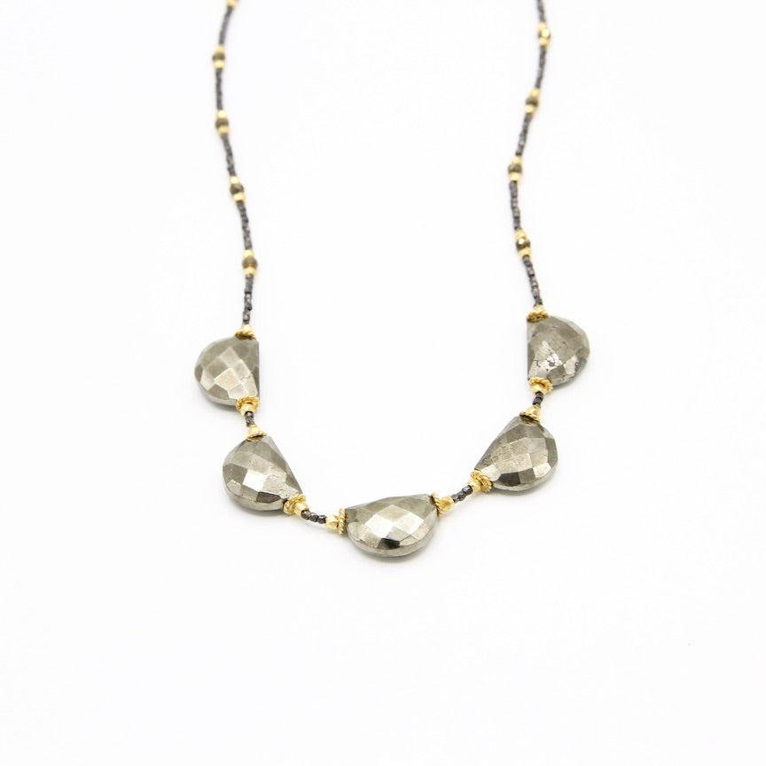 Dark Pyrite Half-Moon Necklace