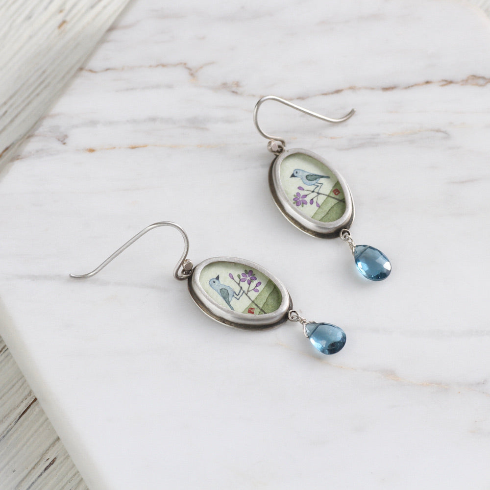 Hand Painted Oval Bluebird Earring with Blue Topaz