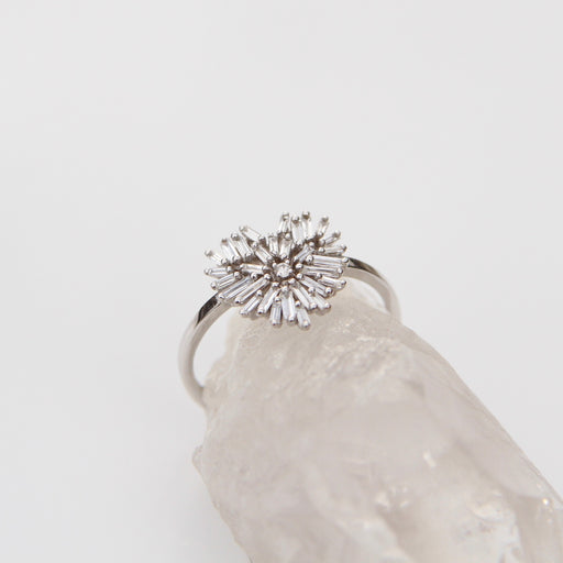 18k White Gold Fireworks Heart Ring