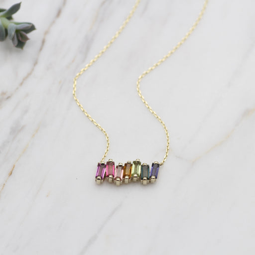 14k Gold Rainbow Baguette Bar Necklace