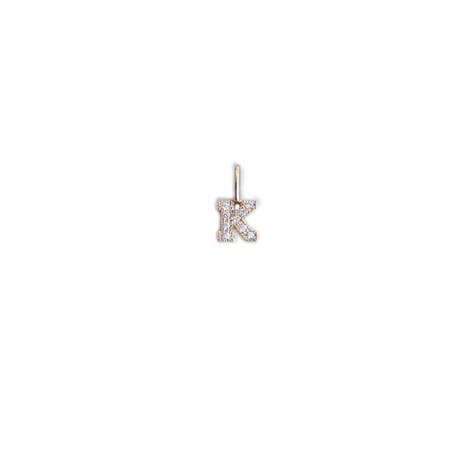 Small Pave Diamond Initial Charm