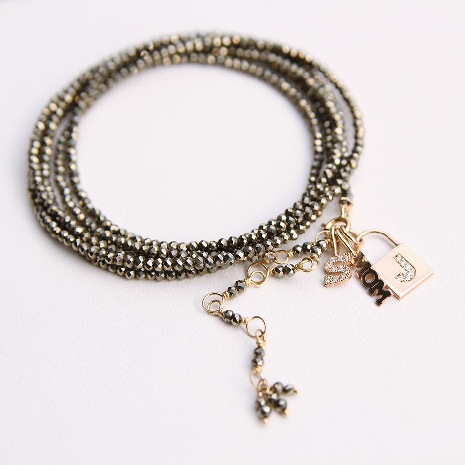 Small Padlock Charm With Single Diamond Letter