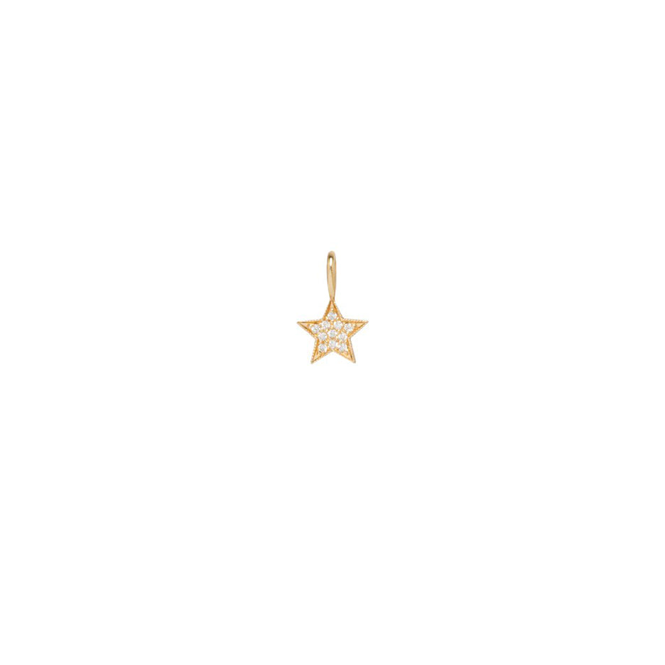 14K GOLD MIDI BITTY PAVE DIAMONDS STAR CHARM