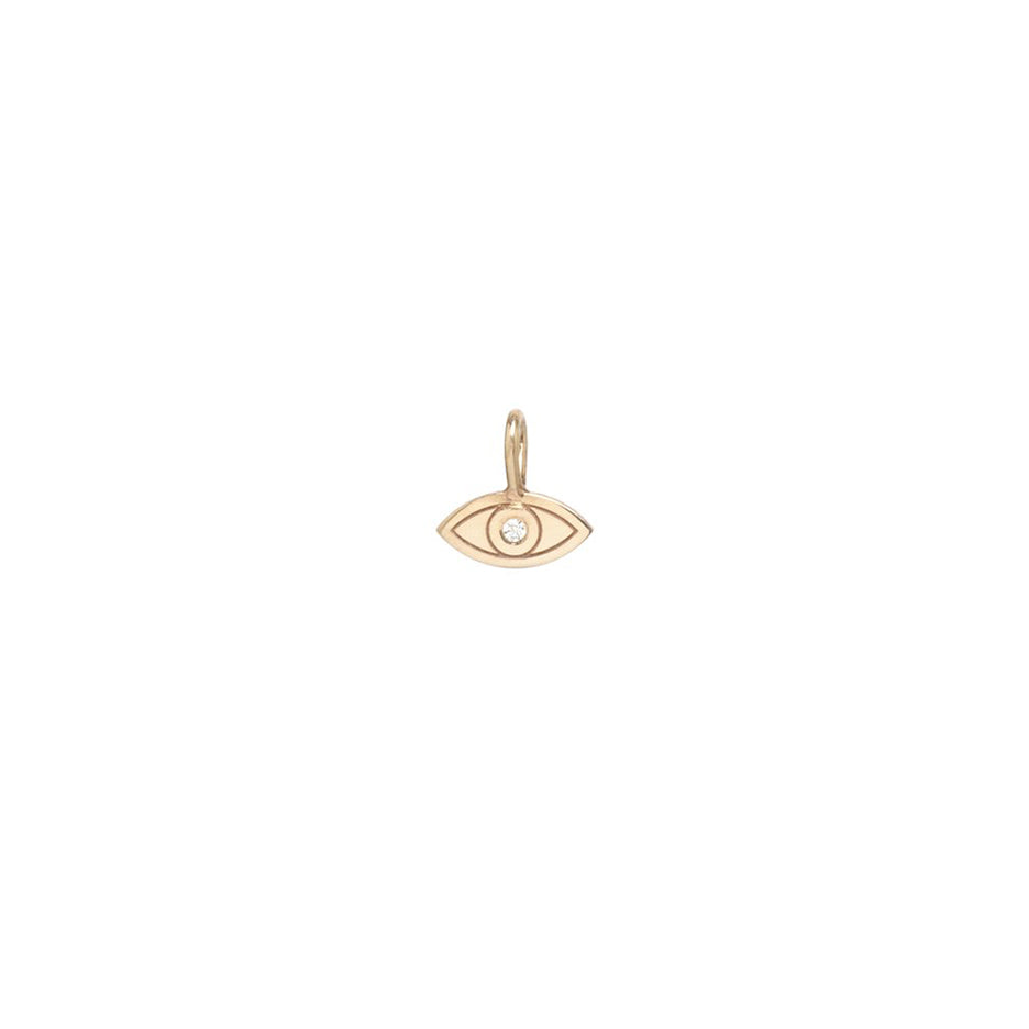 14K GOLD MIDI BITTY EVIL EYE WITH SINGLE DIAMOND CHARM