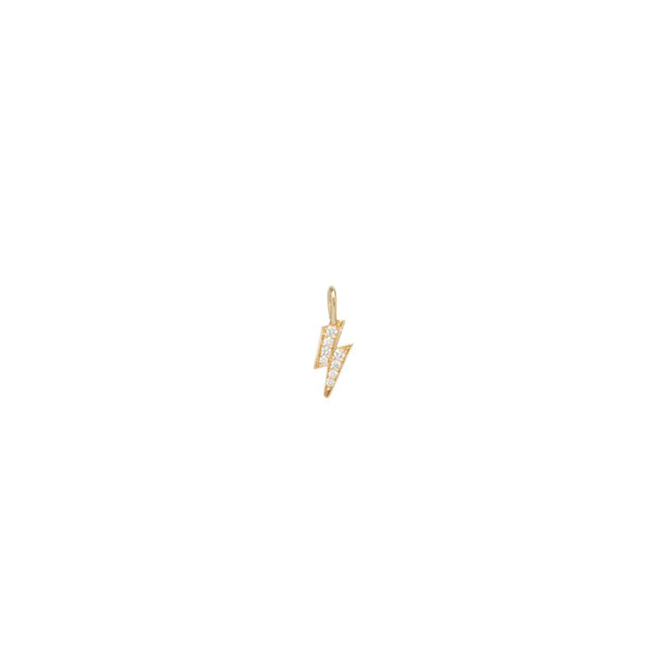 14K GOLD MIDI BITTY PAVE WHITE DIAMONDS LIGHTNING