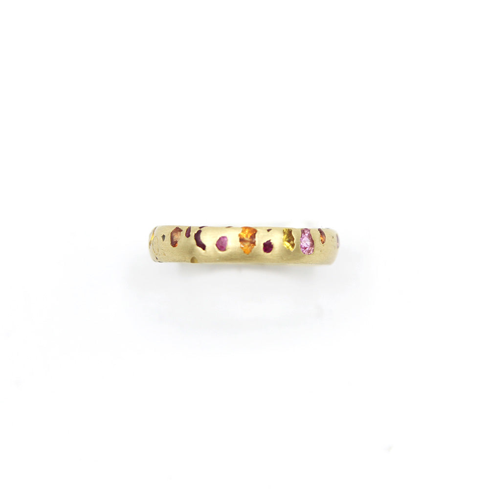 Polly Wales Orange Pink Confetti Ring