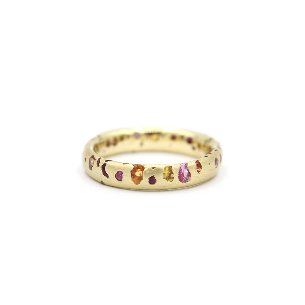 POLLY WALES CONFETTI RING ORANGE AND PINK SIZE 7