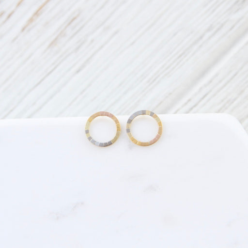 Rainbow Gold Tiny Halo Stud