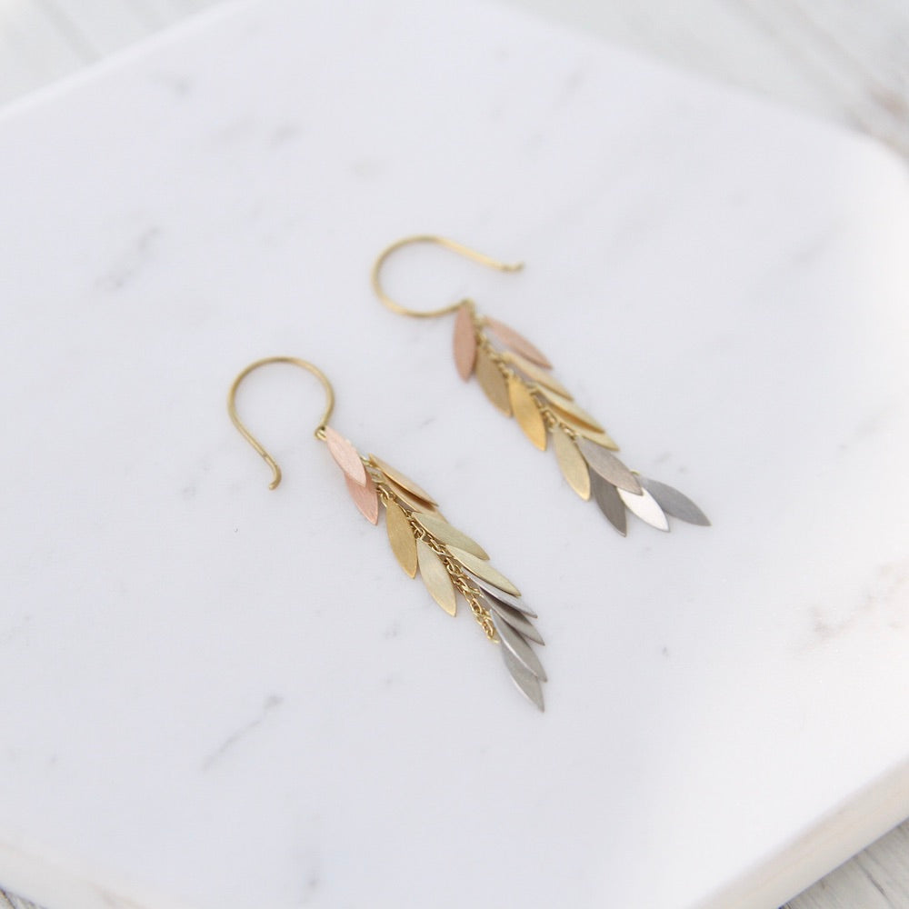 Rainbow Gold Leaf Earrings