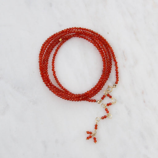 Red Carnelian Wrap Bracelet & Necklace