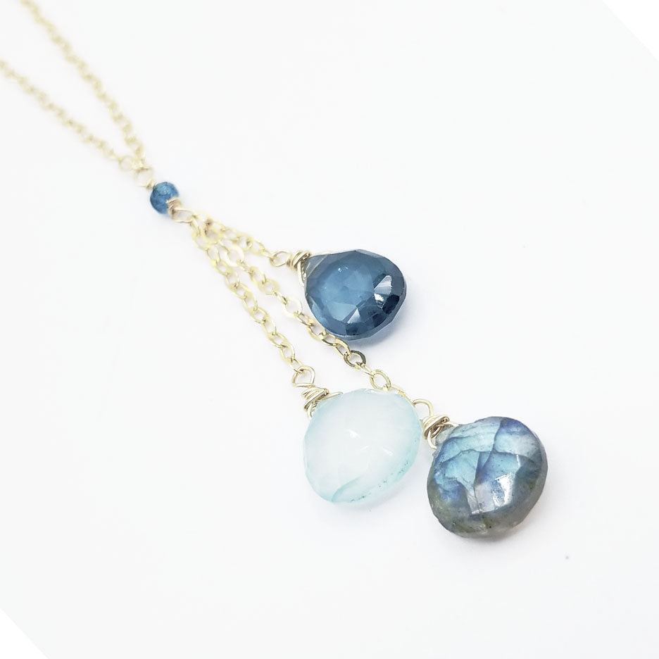 Gold Fill Blue Drops Necklace