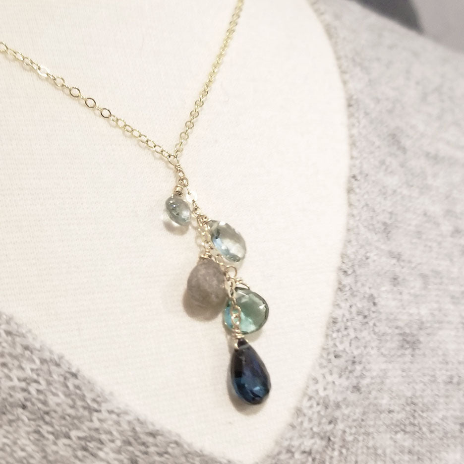 Blue Topaz Cluster Drop Necklace