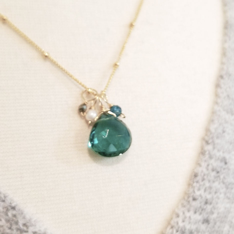 Green Quartz Drop Necklace