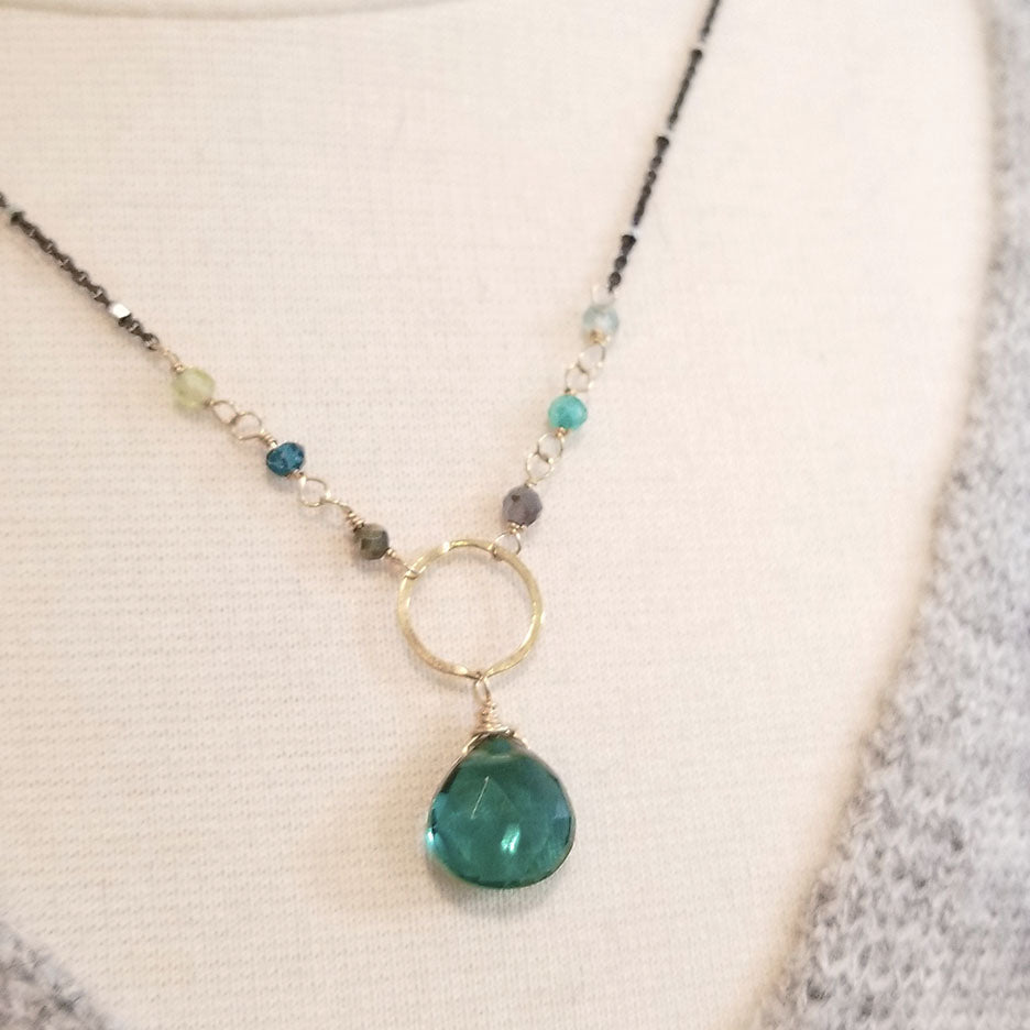 Oxidized Sterling Silver Green Drop Necklace
