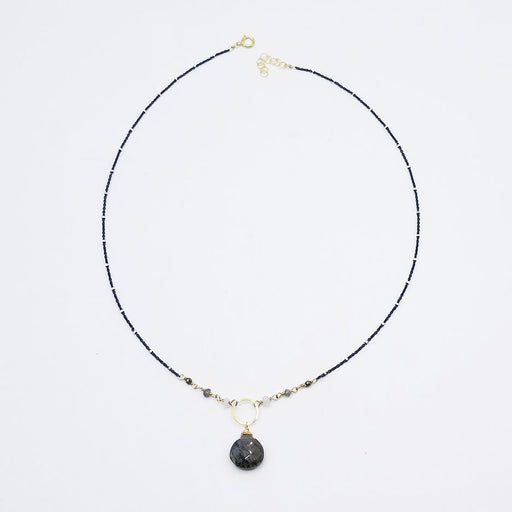Oxidized Sterling Silver Labradorite Drop Necklace