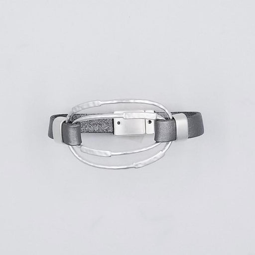 MATT RHODIUM SILVER  AND LEATHER BRACELET