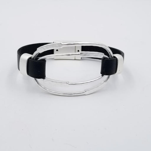 MATT RHODIUM BLACK LEATHER BRACELET