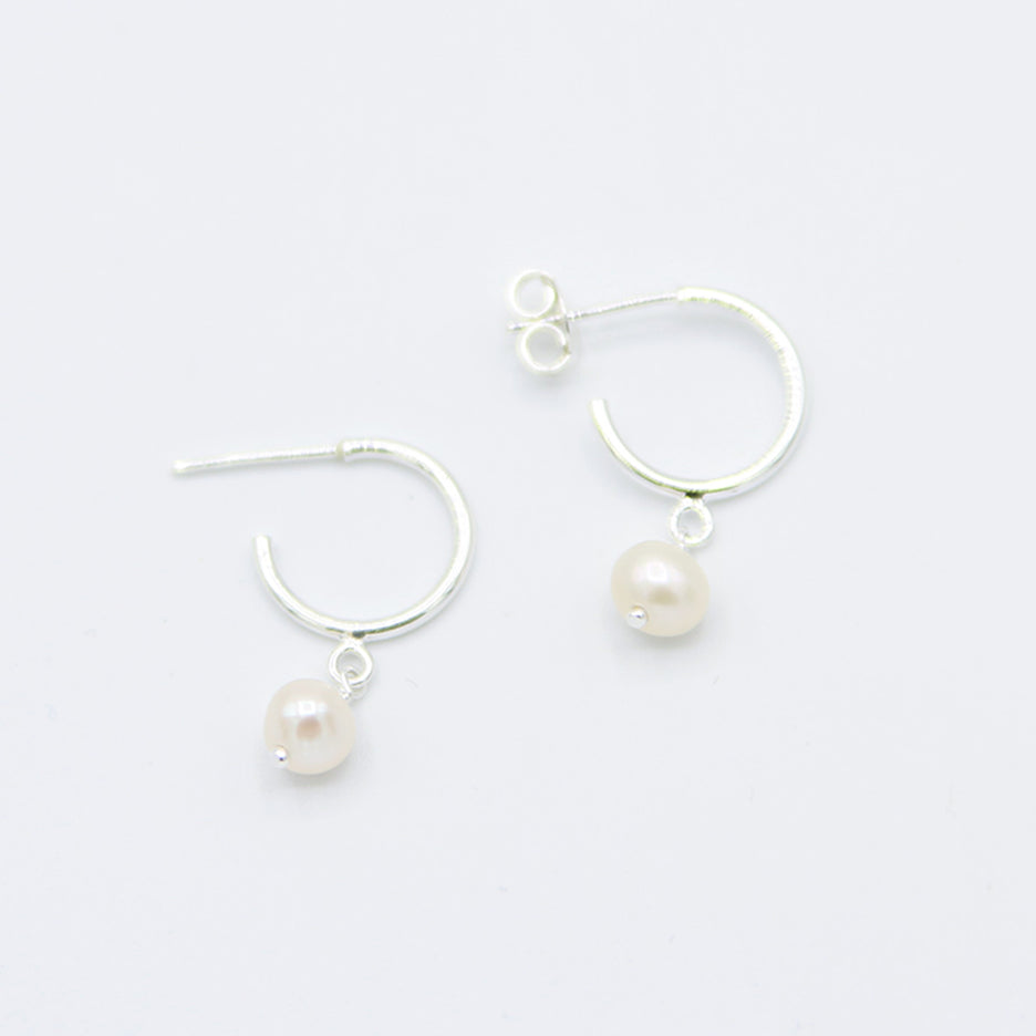 Sterling Silver Hoop With Hanging Pearl