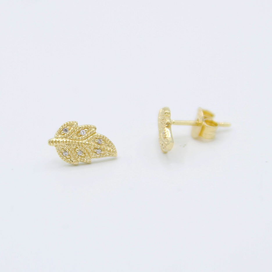 GOLD VERMEIL PAVE LEAF STUD EARRINGS