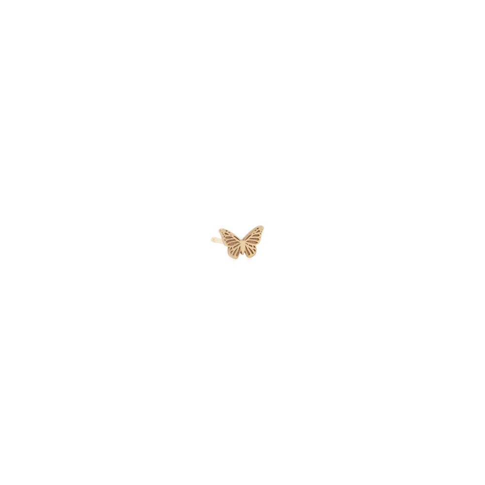 14k Gold Itty Bitty Butterfly Stud Earring - Single Earring