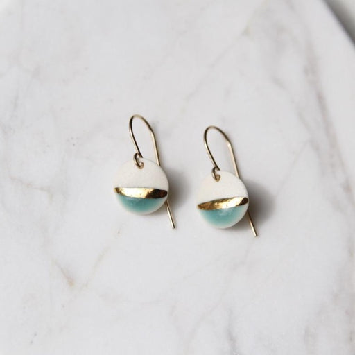 Gold Striped Circle Drop Earrings - Turquoise