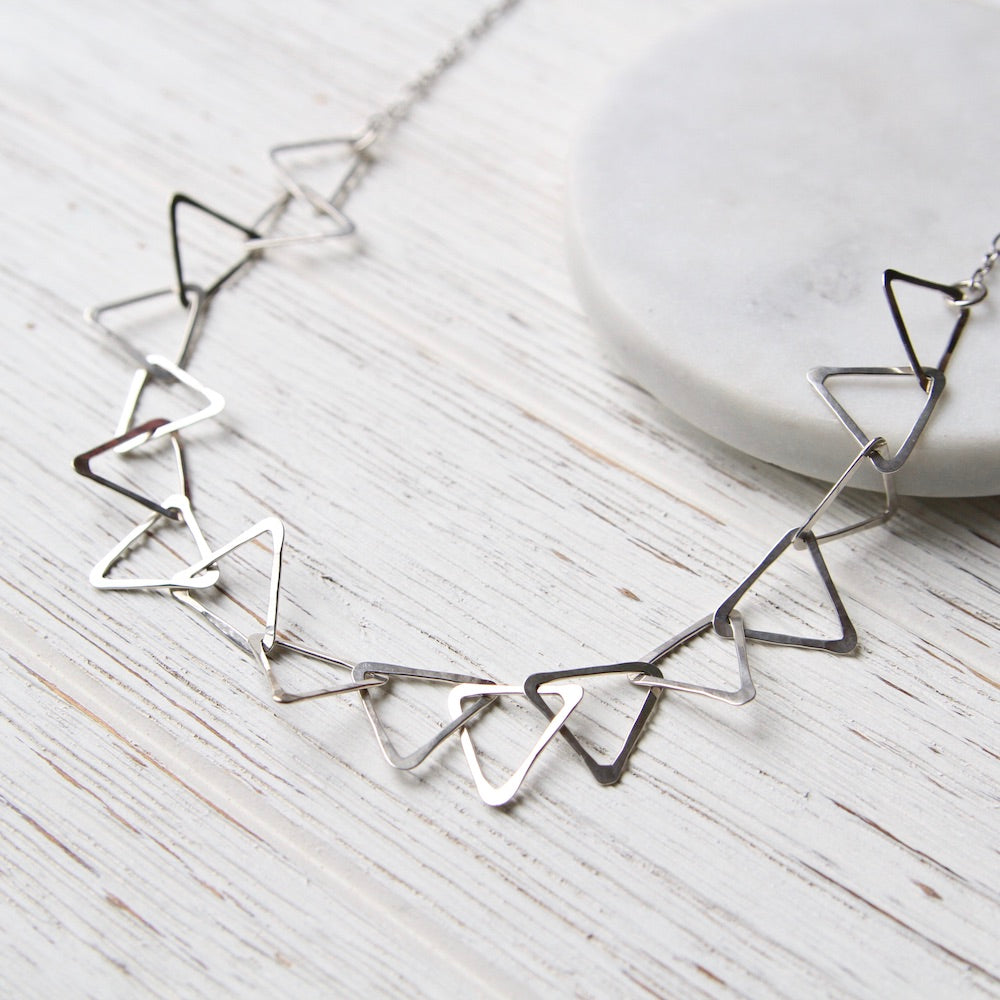 Sterling Silver Triangle Link Necklace