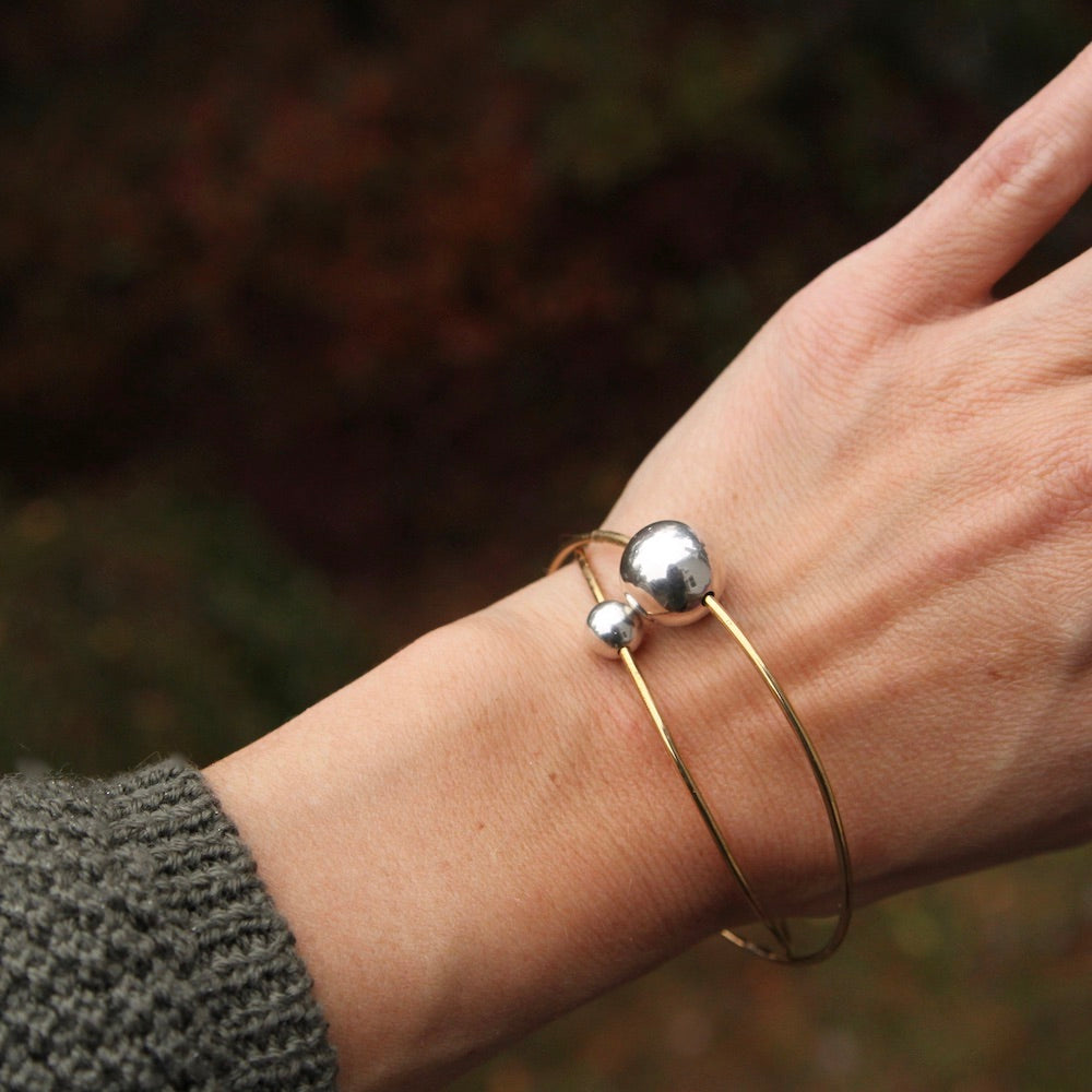 Brass Bangle Bracelet with Small Sterling Silver Bead