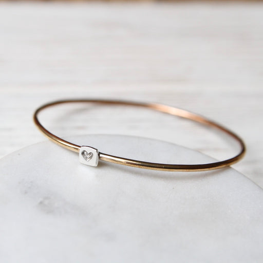Tiny Heart on Sterling Brass Bangle Bracelet