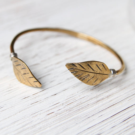 Double Leaf Brass Cuff