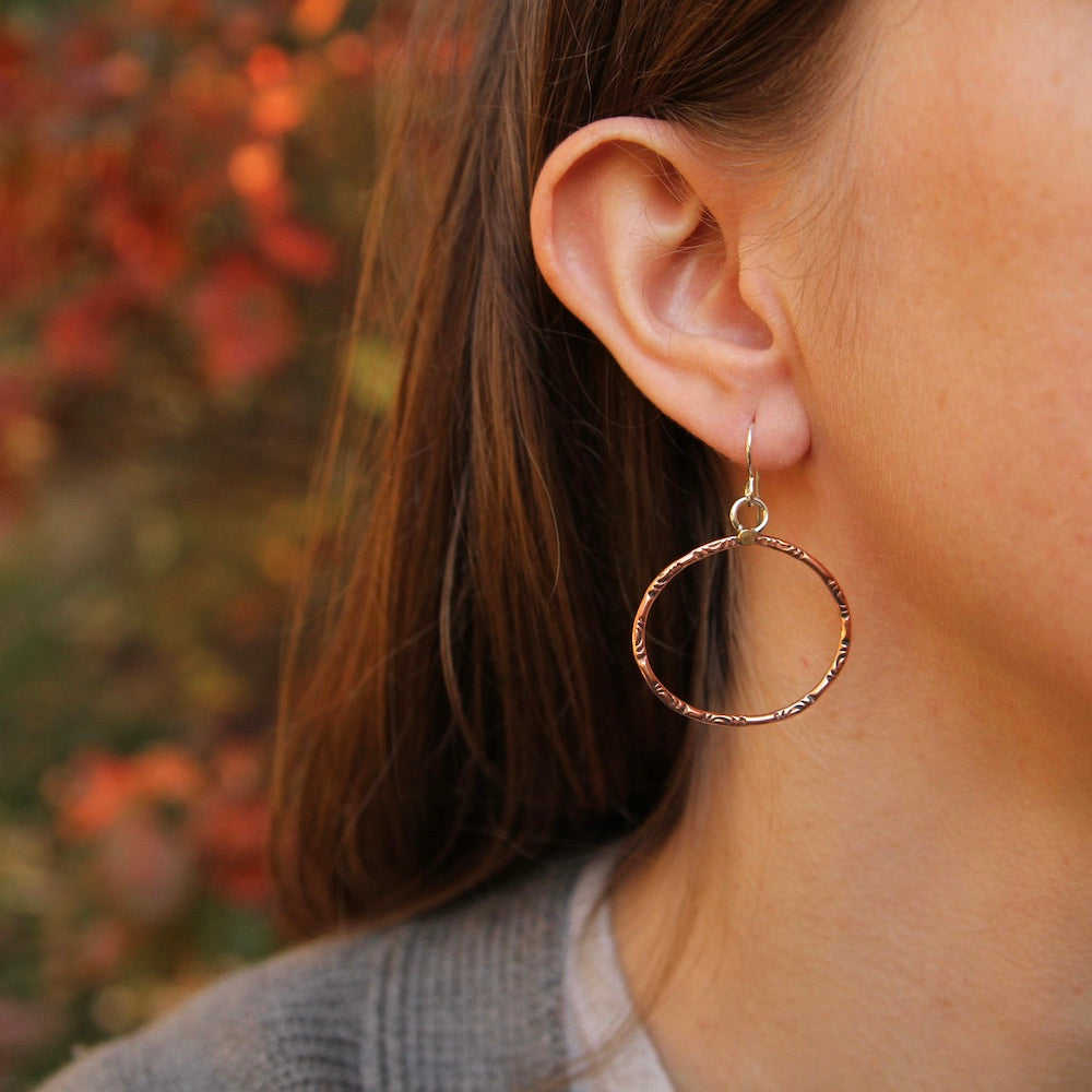 Textured Copper Oval Hoops