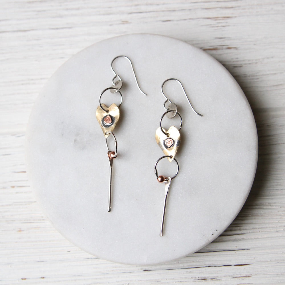 Mixed Metal Dangly Heart Earrings