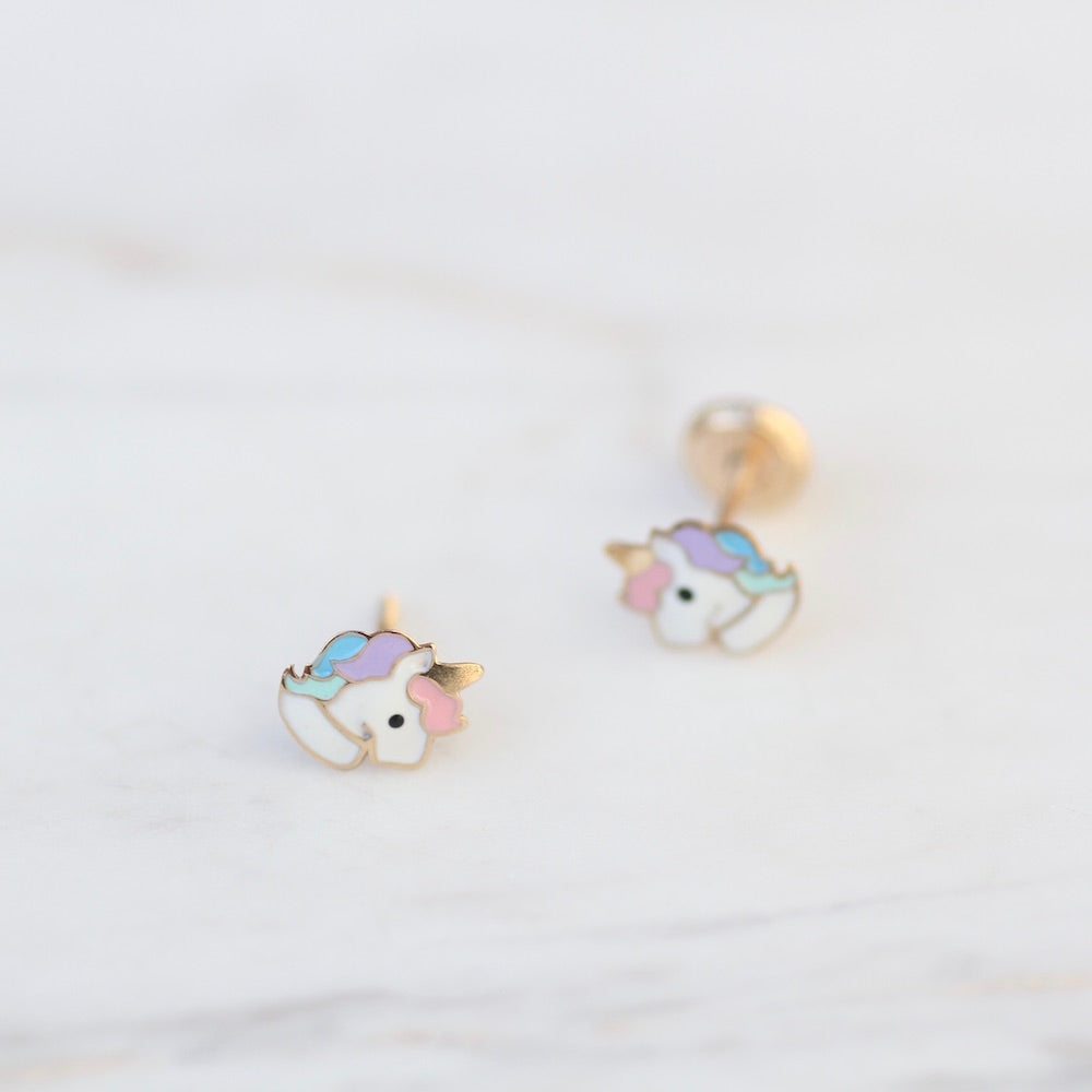 14K Enamel Unicorn Post Earring