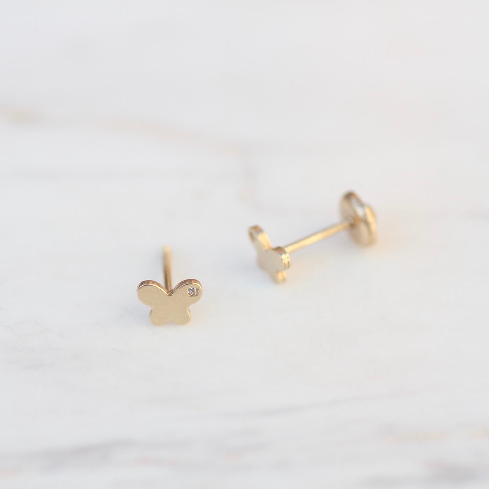 14K Yellow Gold Butterfly Post Earring