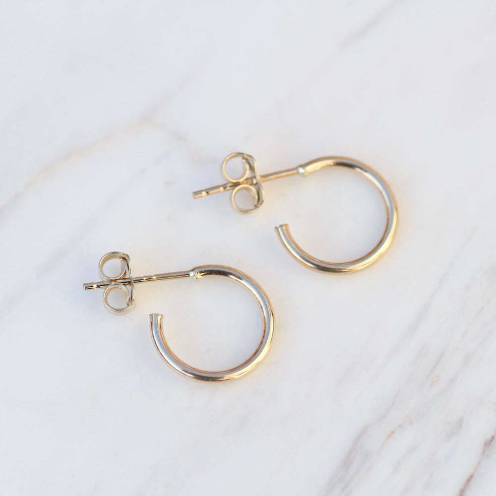 14K Yellow Gold Post Hoop