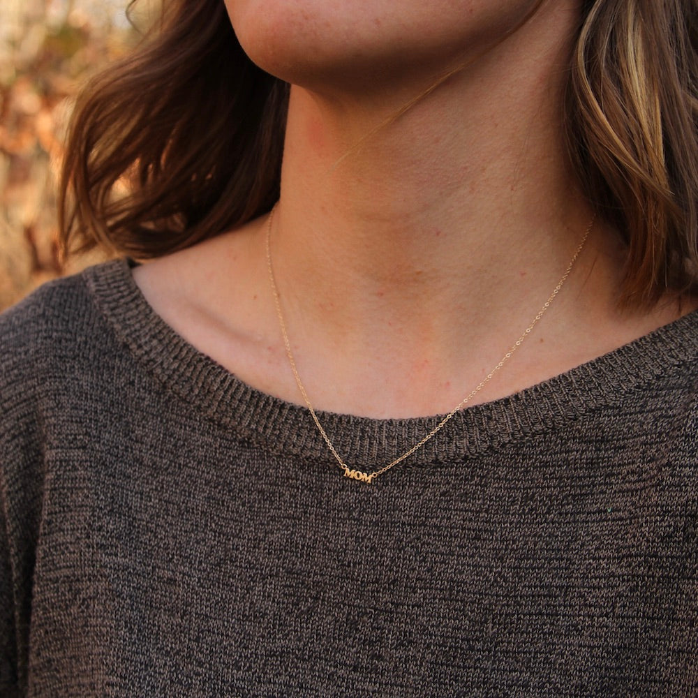"14K Yellow Gold ""MOM"" Necklace"