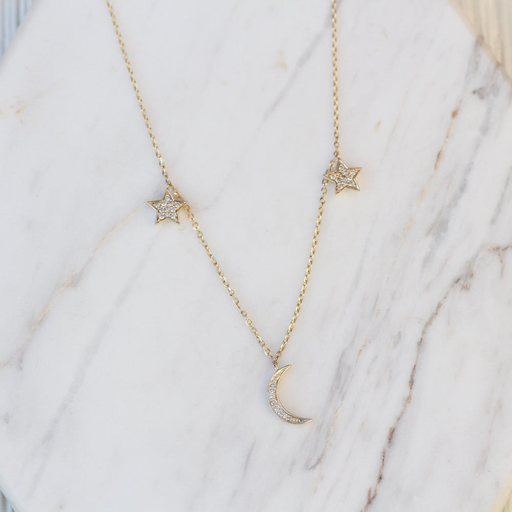 14K Yellow Gold Diamond Star and Moon Charm Necklace