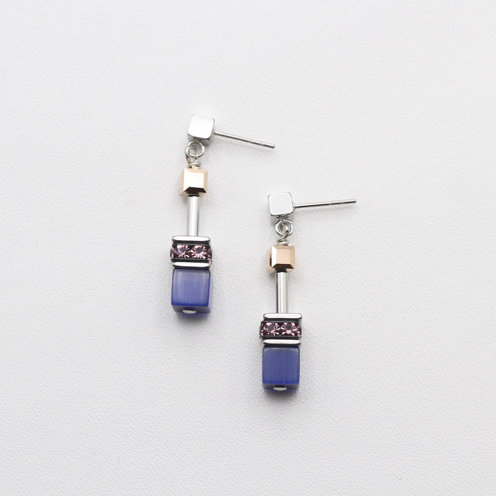 BLUE AND BROWN CAT EYE GEO CUBE EARRING