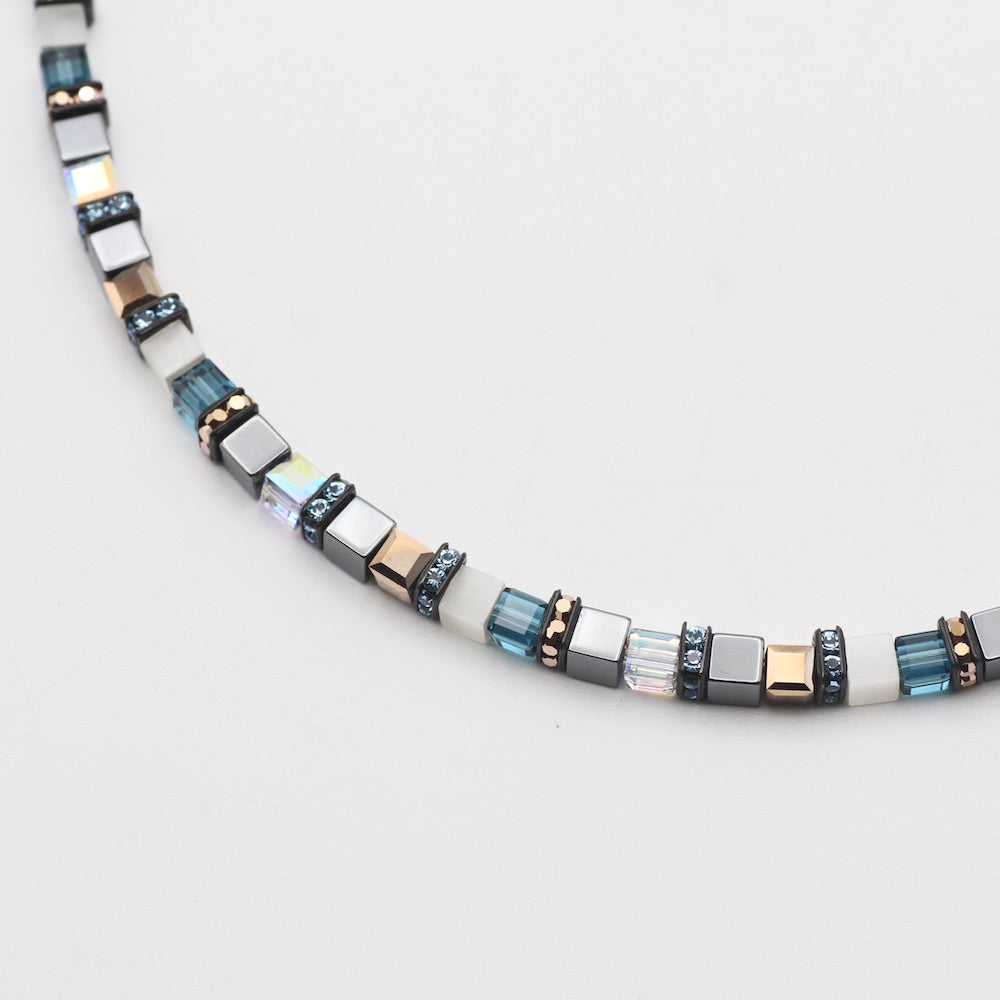 TURQUOISE AND HEMATITE SMALL GEO CUBE NECKLACE