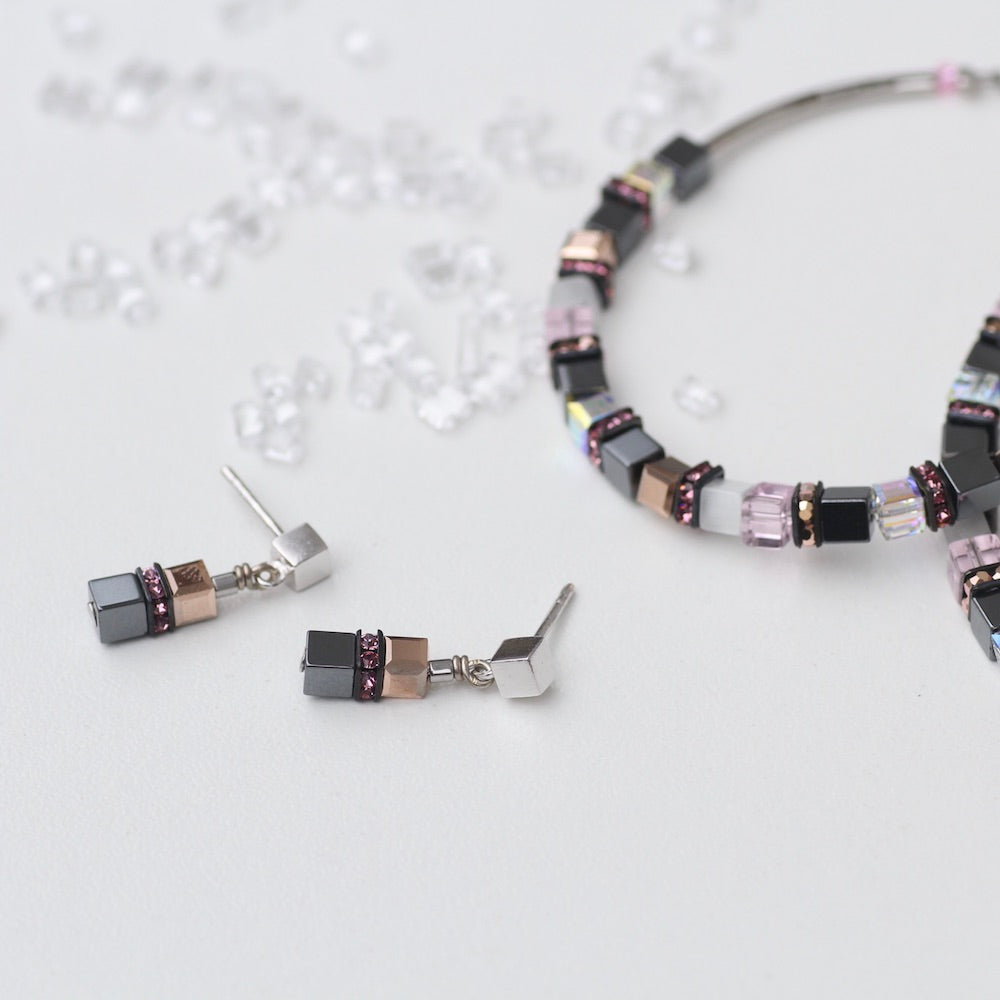 PINK AND HEMATITE SMALL GEO CUBE EARRING