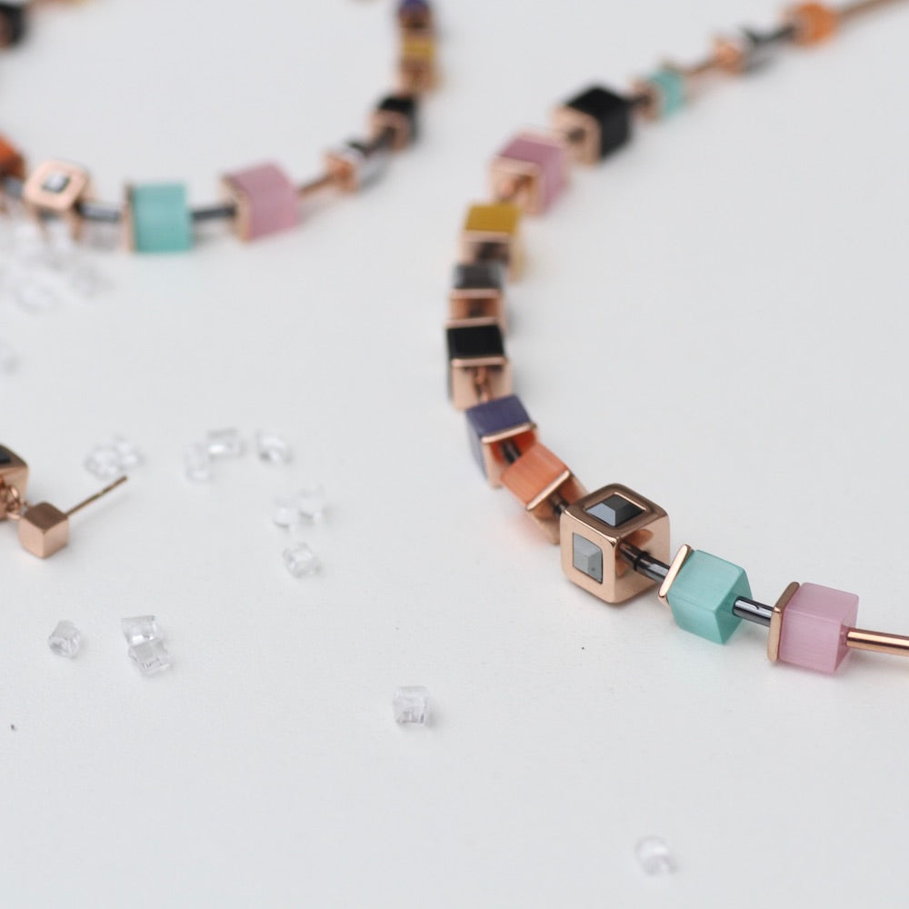 ROSE GOLD AND MULTICOLOR GEO CUBE NECKLACE