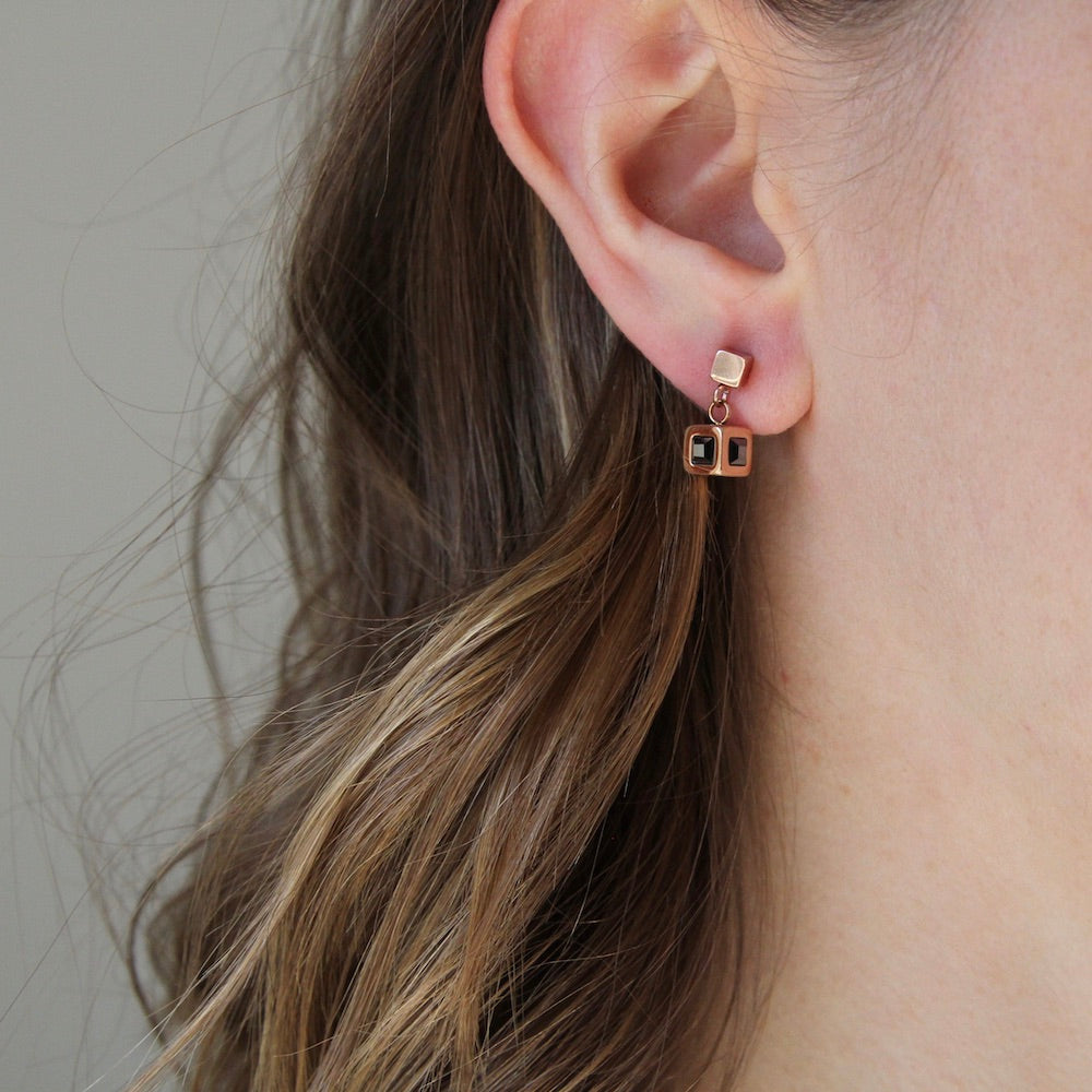 ROSE GOLD AND CRYSTAL CUBE EARRING