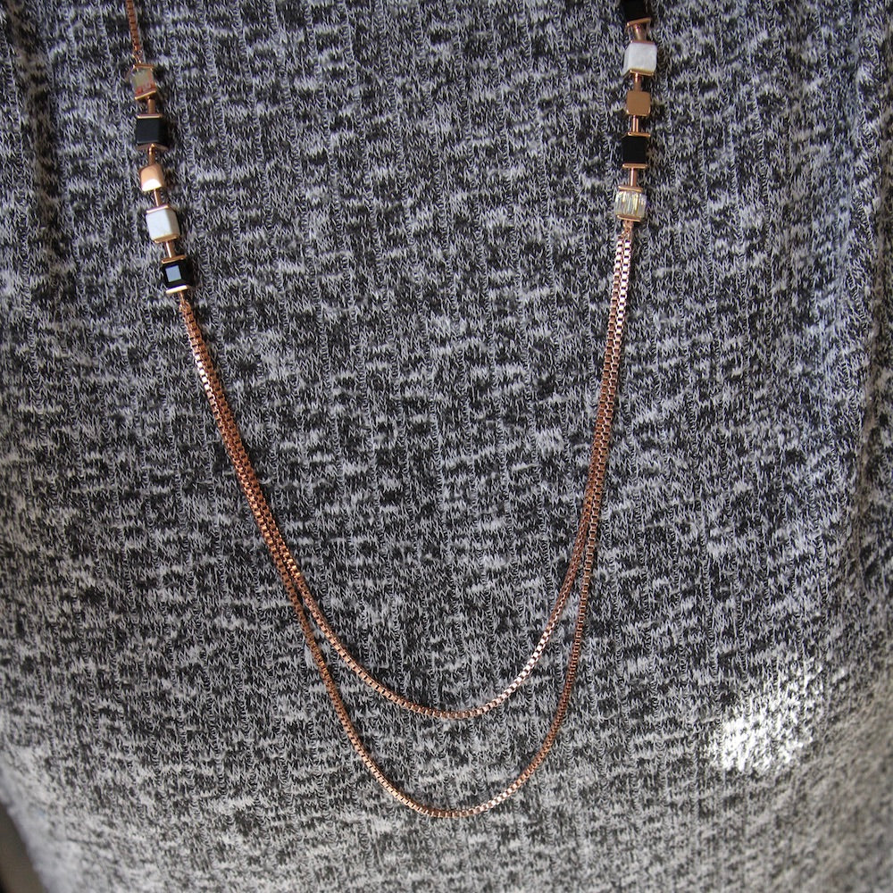BLACK AND WHITE GEO CUBE LONG CHAIN NECKLACE