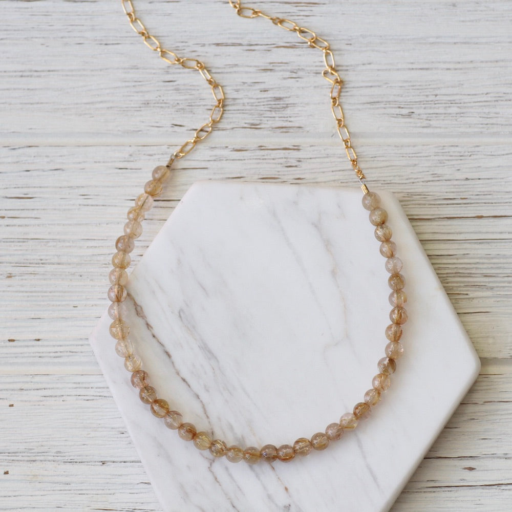 Golden Rutalated Quartz on Gold Filled Oval Chain Necklace